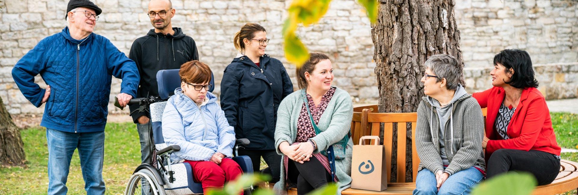 Erwachsene Menschen mit und ohne Behinderungen stehen und sitzen unter einem großen Baum. Die Sonne scheint. Die Menschen lächeln einander zu und genießen gemeinsam die Freizeit. Eine Frau sitzt in einem Rollstuhl. Zwei Mitarbeiter:innen der Lebenshilfe begleiten die Gruppe.